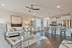 Decorated living room hardwood floor